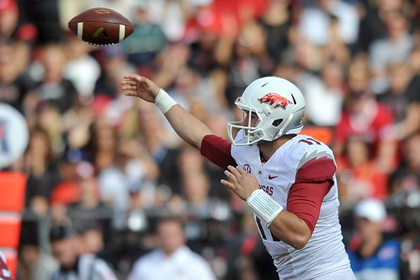 Arkansas quarterback AJ Derby throws a pass during the Razorbacks' game against the Rutgers Scarlet Knights at High Point Solutions Stadium in Piscataway, N.J.