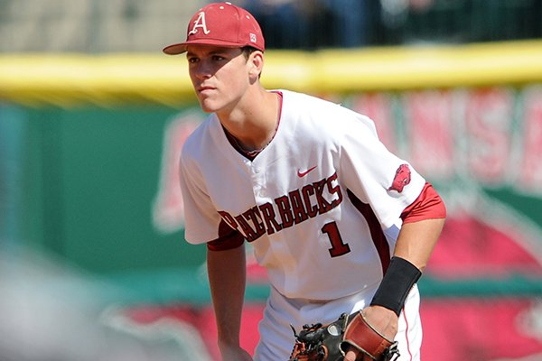 Arkansas' Brian Anderson readies himself Sunday, March 31, 2013, during game three of the series against Mississippi State at Baum Stadium in Fayetteville.