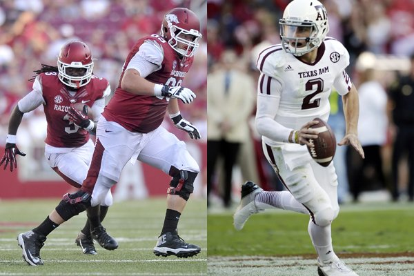 Arkansas' game with Texas A&M could turn into an offensive shootout, featuring the Razorbacks' running game, led by Alex Collins (pictured left) and Jonathan Williams, and the 2012 Heisman trophy winner, Johnny Manziel (pictured right).