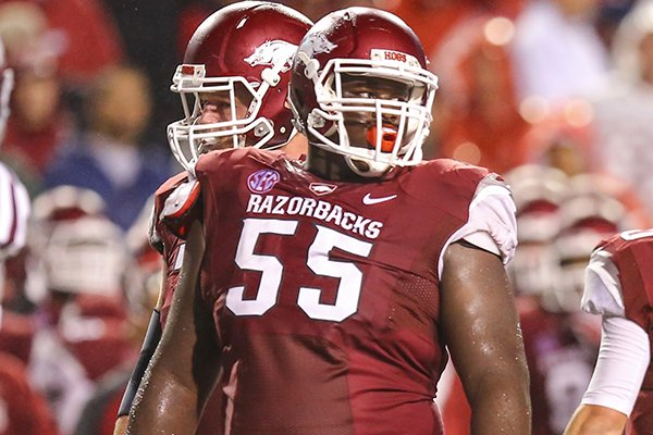 Arkansas offensive lineman Denver Kirkland looks toward the sideline during a Saturday, Sept. 28, 2013 game against Texas A&M at Razorback Stadium in Fayetteville.