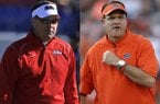 Ole Miss coach Hugh Freeze (left) and Auburn coach Gus Malzahn (right) each spent one season at Arkansas State.