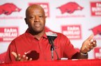 NWA Media/ANDY SHUPE - Mike Anderson, Arkansas men's basketball coach, speaks Wednesday, Oct. 2, 2013, during a press conference ahead of the upcoming 2013-14 season at Bud Walton Arena on the university campus in Fayetteville.