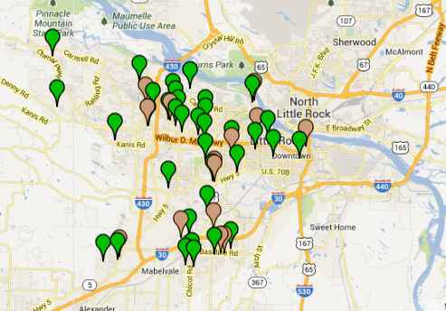this-screenshot-from-the-little-rock-crime-map-shows-residential-burglaries-in-green-and-robberies-in-brown-as-reported-sept-27-to-thursday