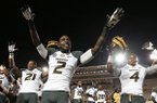 Missouri wide receiver L'Damian Washington (2) celebrates after Missouri defeated Vanderbilt in an NCAA college football game on Saturday, Oct. 5, 2013, in Nashville, Tenn. Washington scored two touchdowns as Missouri won 51-28. (AP Photo/Mark Humphrey)