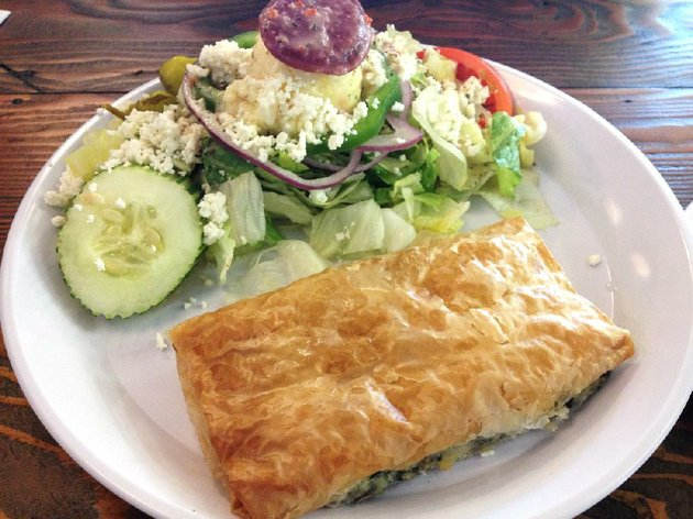 the-spinach-pie-spanakopita-platter-includes-a-greek-salad-at-little-greek-restaurant-in-little-rock