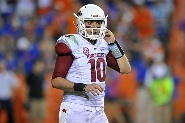 Arkansas quarterback Brandon Allen in the 4th quarter of Saturday night's game at Ben Hill Griffin Stadium in Gainesville, Fla.