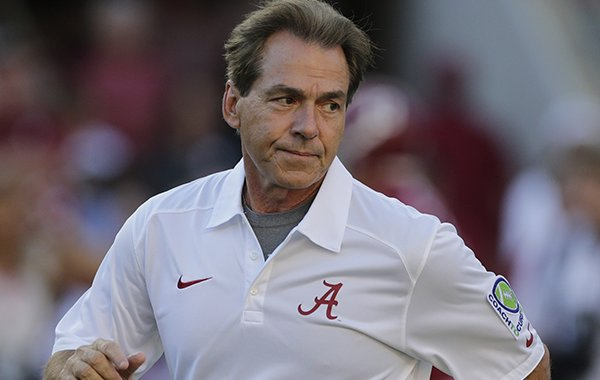 Alabama head coach Nick Saban watches his team prior to an NCAA college football game against Mississippi in Tuscaloosa, Ala., Saturday, Sept. 28, 2013. (AP Photo/Dave Martin)