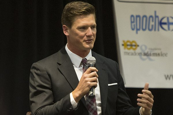 former-arkansas-razorbacks-qb-mitch-mustain-talks-to-the-touchdown-club-october-14-2013-at-the-embassy-suites-in-little-rock