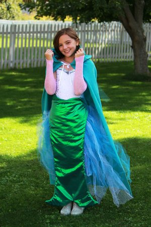 "The mermaid costume that Kim Conner of Burlington, Vt., designed for her daughter is a frequent ""re-pin"" on the Pinterest photo-sharing website. Details for how to make the costume are at Conner's blog, seven thirty three (733blog.com). With supplies on hand and inexpensive purchases, a Halloween costume can be assembled in a snap."