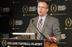 Arkansas athletic director Jeff Long, chairman of College Football Playoff selection committee, responds to questions during a news conference where the 12 members selected to the committee were announced, Wednesday, Oct. 16, 2013, in Irving, Texas. (AP Photo/Tony Gutierrez)