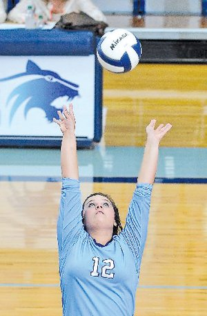 FILE PHOTO Tiffani Ray is a two-sports athlete who starts in volleyball and softball for Springdale Har-Ber. She leads the Lady Wildcats with 276 assists as a junior.