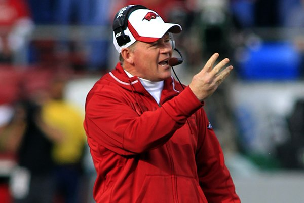Former Arkansas coach Bobby Petrino during a 2011 game against Mississippi State in Little Rock.