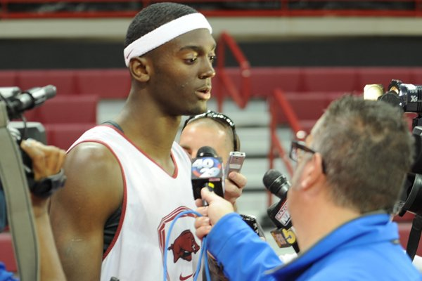 Arkansas freshman Bobby Portis answers questions from the media Thursday, Oct. 24, 2013, during the team's annual media day in Bud Walton Arena.