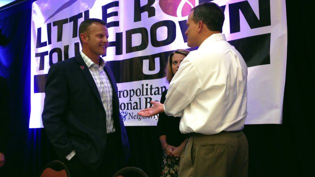 arkansas-state-head-coach-bryan-harsin-speaks-with-fans-after-his-address-at-the-little-rock-touchdown-club