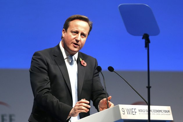 british-prime-minister-david-cameron-addresses-the-delegates-during-the-9th-world-islamic-economic-forum-at-the-excel-exhibition-and-convention-center-in-london-on-tuesday-oct-29-2013