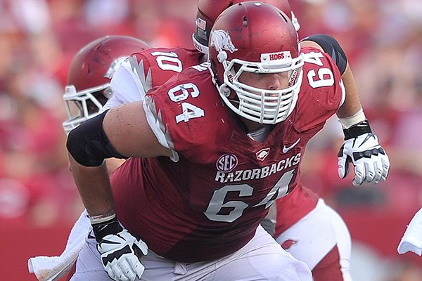 Arkansas center Travis Swanson during an Aug. 31, 2013 game against Louisiana-Lafayette at Razorback Stadium in Fayetteville.