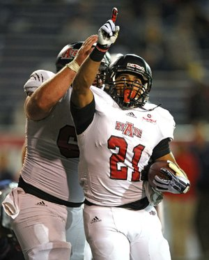 Arkansas State running back Sirgregory Thornton celebrates Saturday after scoring the go-ahead touchdown in a 17-16 victory over South Alabama in Mobile, Ala.