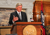 Gov. Mike Beebe speaks Monday at a news conference announcing the results of an Arkansas State Police investigation into the Department of Community Correction.