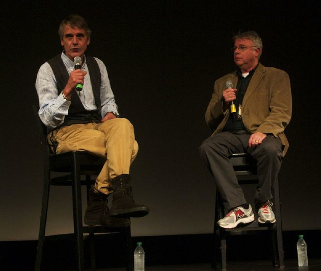 jeremy-irons-and-chris-auer-the-chairman-of-the-savannah-college-of-art-and-designs-television-and-film-department-discuss-irons-career-at-the-recent-savannah-international-film-festival