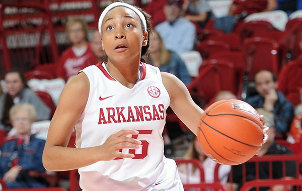 Arkansas freshman Kelsey Brooks scored a team-high tying 17 points in a season opening win over Sam Houston State.