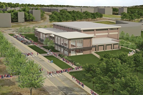 An artist's rendering shows a proposed basketball practice facility on the University of Arkansas campus.