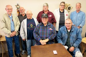 Photo by Randy Moll Gentry area veterans were honored for their military service by the Gentry Senior Activity Center on Friday. Among those honored were Ralph Sullivan (left), Bill Mitchell, Robert Martin, John Underwood, Dave Evans, Denver Whitehead, Paul Bader and Jay Moore.