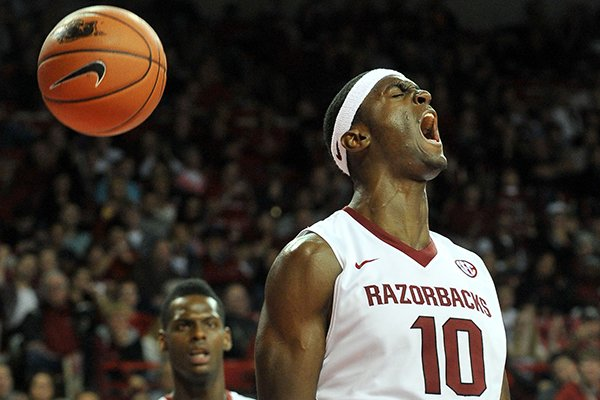 Arkansas' Bobby Portis reacts after getting fouled in the second half of Friday night's game against Louisiana-Lafayette at Bud Walton Arena in Fayetteville.