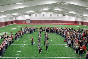 Photo by Patrick Lanford  The Pioneers received a spirited send-off early Friday in their new athletic facility before leaving to play in Star City on Friday night in round one of the playoffs.