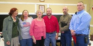 Photo by Larry Burge  Sulphur Springs City Council members are Nancy Reich (left), Susan Buckner, Martha Kreder, Mayor Greg Barber, Shane Weber and Bill Middleton.
