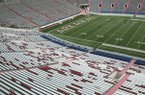 """The word """"Arkansas"""" is displayed in the north end zone at War Memorial Stadium in Little Rock, Ark., Tuesday, Nov. 26, 2013. (AP Photo/Danny Johnston)"""