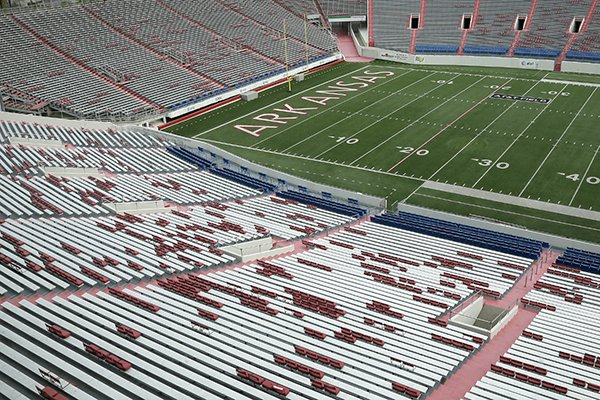 "The word ""Arkansas"" is displayed in the north end zone at War Memorial Stadium in Little Rock, Ark., Tuesday, Nov. 26, 2013. (AP Photo/Danny Johnston)"