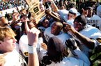 Arkansas Democrat-Gazette/CHRIS DEAN - 12/04/04 - The Little Rock Central Tigers celebrate their second consecutive AAAAA state championship after beating West Memphis 41-7.
