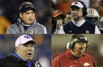Missouri coach Gary Pinkel (top left) and first-year Auburn coach Gus Malzahn (top right) have guided their programs to the SEC championship game after both Tigers teams had losing records in 2012, while Mark Stoops (bottom left) and Bret Bielema (right) could not better their teams' records in their first seasons at Kentucky and Arkansas respectively.