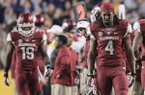 Javontee Herndon and Keon Hatcher walk off the field after a heartbreaking 31-27 loss to LSU