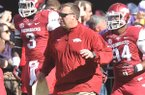 Arkansas coach Bret Bielema before the start of a game at Tiger Stadium in Baton Rouge, La. on Nov. 29, 2013.