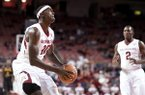 Arkansas' Bobby Portis (10) shoots a basket during the first half of an NCAA college basketball game in Fayetteville, Ark., Tuesday, Dec. 3, 2013. Arkansas won 111-65. (AP Photo/Sarah Bentham)