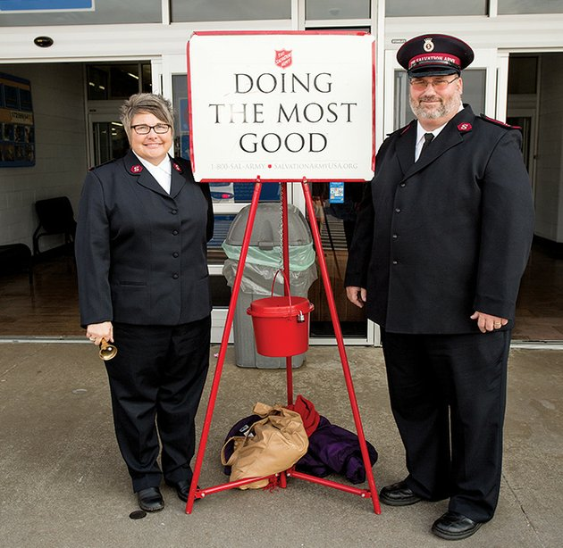 capts-joanna-and-david-robinson-corps-officers-with-the-salvation-army-in-conway-said-the-kettle-campaign-is-the-organizations-most-important-fundraiser-donations-to-the-kettles-fund-social-services-for-people-in-need-in-faulkner-perry-cleburne-and-van-buren-counties-more-volunteer-bell-ringers-are-needed-to-help-defray-the-costs-of-the-project-david-robinson-said