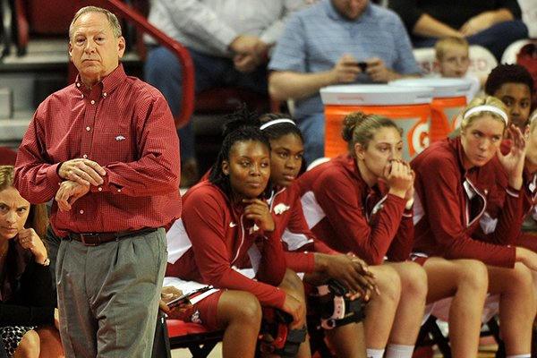 Arkansas coach Tom Collen watches his team during the first half of a Tuesday, Nov. 19, 2013 game against Middle Tennessee at Bud Walton Arena in Fayetteville.