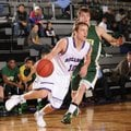 Luke Renner, left, Fayetteville senior, drives past Springfield (Mo.) Parkview guard Autry Acord on ...