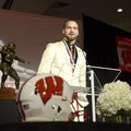 Jared Abbrederis, senior wide receiver for the University of Wisconsin, accepts the Burlsworth Troph...