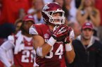 Arkansas tight end Hunter Henry catches a pass during a Sept. 28, 2013 game against Texas A&M at Razorback Stadium in Fayetteville.