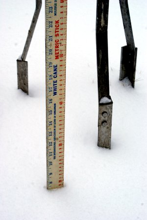 Photo by Dodie Evans The record breaking early December snow that blanketed the area last Thursday and Friday, measured 7 1/2 inches as shown on this White Cane yard stick standing near the legs o...