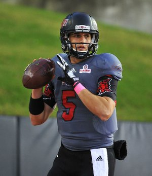 Arkansas State quarterback Adam Kennedy has not practiced since suffering a knee injury in ASU's regular-season finale.