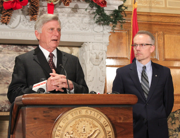 gov-mike-beebe-speaks-while-john-herzog-of-hp-looks-on-during-a-news-conference-wednesday-morning-at-the-state-capitol