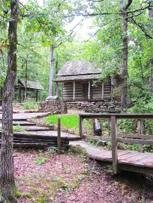 Woolly Cabin, built in the 1880s, adds a historical touch to Woolly Hollow State Park.