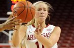 Arkansas' Calli Berna passes the ball during the second half of the game against Mississippi Valley State in Bud Walton Arena in Fayetteville on Saturday December 28, 2013. Arkansas defeated Mississippi Valley State 100-54.