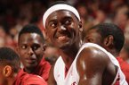 Arkansas forward Bobby Portis smiles during the second half of play Saturday, Dec. 28, 2013, in Bud Walton Arena in Fayetteville.