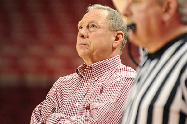 Arkansas Coach Tom Collen watches his team take on Mississippi Valley State during the second half of the game in Bud Walton Arena in Fayetteville on Saturday December 28, 2013. Arkansas defeated Mississippi Valley State 100-54.