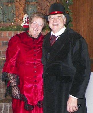 Sulphur Springs commissioner June Murray and Larry Burge dressed in 1890s costumes Dec. 7 during the annual progressive dinnner in Sulphur Springs.