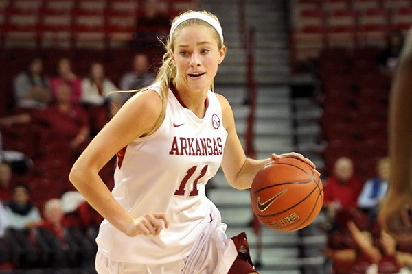 Arkansas' Calli Berna dribbles the ball during the second half of the game against Mississippi Valley State in Bud Walton Arena in Fayetteville on Saturday December 28, 2013.